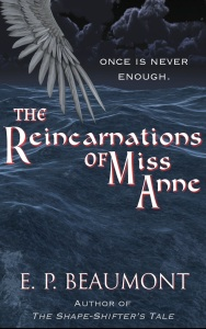 "Cover design for Reincarnations of Miss Anne: feathered wing spreads over night ocean. Tag: ""Once is never enough"""